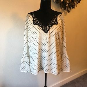 DR2 polka dot blouse with crochet top size XL